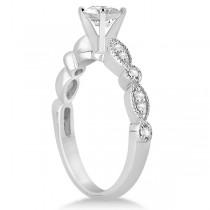 Petite Marquise & Dot Diamond Bridal Ring Set in 18k White Gold (0.25ct)