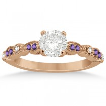 Marquise & Dot Diamond Amethyst Engagement Ring 18k Rose Gold 0.24ct