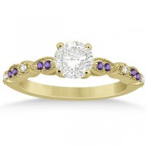 Marquise & Dot Diamond Amethyst Engagement Ring 18k Yellow Gold 0.24ct