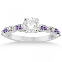 Marquise & Dot Diamond Amethyst Engagement Ring Palladium 0.24ct