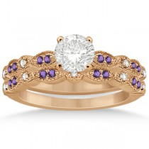 Marquise and Dot Amethyst & Diamond Bridal Set 14k Rose Gold 0.49ct
