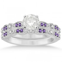 Marquise and Dot Amethyst & Diamond Bridal Set 14k White Gold 0.49ct