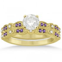 Marquise and Dot Amethyst & Diamond Bridal Set 14k Yellow Gold 0.49ct
