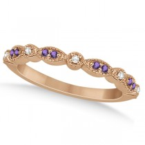 Marquise & Dot Amethyst Diamond Ring Band 18k Rose Gold 0.25ct