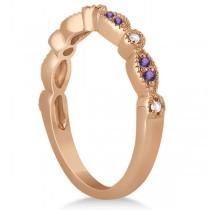Marquise & Dot Amethyst Diamond Ring Band 18k Rose Gold 0.25ct