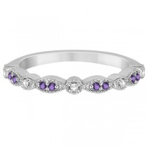 Marquise & Dot Amethyst Diamond Ring Band Palladium 0.25ct