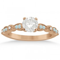 Marquise Aquamarine Diamond Engagement Ring 18k Rose Gold 0.24ct