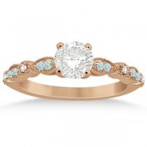 Marquise Aquamarine Diamond Engagement Ring 18k Rose Gold 0.24ct