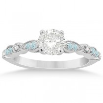 Marquise Aquamarine Diamond Engagement Ring 18k White Gold 0.24ct