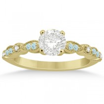 Marquise Aquamarine Diamond Engagement Ring 18k Yellow Gold 0.24ct
