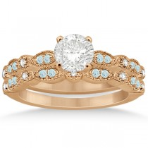 Marquise & Dot Aquamarine Diamond Bridal Set 14k Rose Gold (0.49ct)