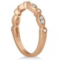 Marquise & Dot Aquamarine Diamond Bridal Set 14k Rose Gold (0.49ct)