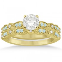 Marquise & Dot Aquamarine Diamond Bridal Set 18k Yellow Gold (0.49ct)