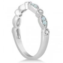 Marquise & Dot Aquamarine Diamond Bridal Set Platinum (0.49ct)