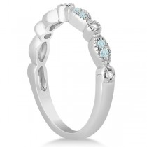 Marquise & Dot Aquamarine Diamond Wedding Band 14k White Gold 0.25ct