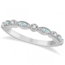 Marquise & Dot Aquamarine Diamond Wedding Band 18k White Gold 0.25ct