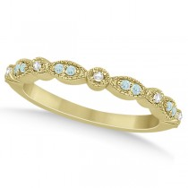 Marquise & Dot Aquamarine Diamond Wedding Band 18k Yellow Gold 0.25ct