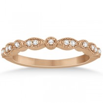 Petite Marquise & Dot Diamond Wedding Band in 14k Rose Gold (0.13ct)