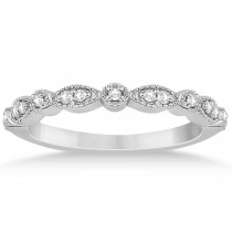 Petite Marquise & Dot Diamond Wedding Band in 14k White Gold (0.13ct)