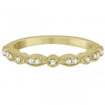 Petite Marquise & Dot Diamond Wedding Band in 18k Yellow Gold (0.13ct)