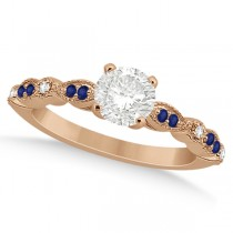 Blue Sapphire Diamond Marquise Engagement Ring 14k Rose Gold 0.24ct