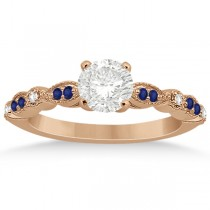 Blue Sapphire Diamond Marquise Engagement Ring 18k Rose Gold 0.24ct