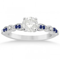 Blue Sapphire Diamond Marquise Engagement Ring 18k White Gold 0.24ct