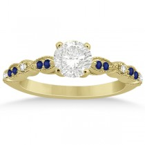 Blue Sapphire Diamond Marquise Engagement Ring 18k Yellow Gold 0.24ct