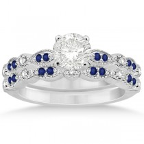 Blue Sapphire & Diamond Marquise Bridal Set 14k White Gold (0.49ct)