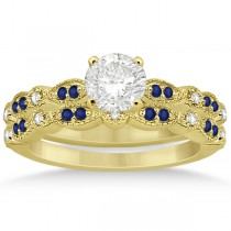 Blue Sapphire & Diamond Marquise Bridal Set 14k Yellow Gold (0.49ct)