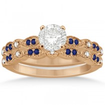 Blue Sapphire & Diamond Marquise Bridal Set 18k Rose Gold (0.49ct)