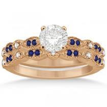 Blue Sapphire & Diamond Marquise Bridal Set 18k Rose Gold (0.49ct)