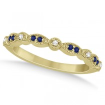 Blue Sapphire & Diamond Marquise Ring Band 14k Yellow Gold (0.25ct)