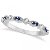 Blue Sapphire & Diamond Marquise Ring Band 18k White Gold (0.25ct)