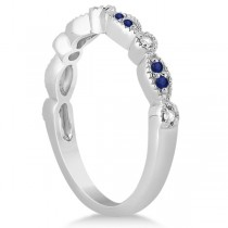 Blue Sapphire & Diamond Marquise Ring Band Platinum (0.25ct)