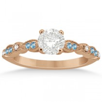 Marquise & Dot Blue Topaz Diamond Engagement Ring 18k Rose Gold 0.24