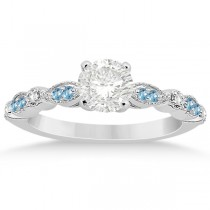 Marquise & Dot Blue Topaz Diamond Engagement Ring 18k White Gold 0.24