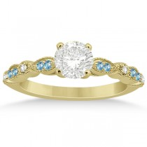Marquise & Dot Blue Topaz Diamond Engagement Ring 18k Yellow Gold 0.24