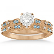 Marquise & Dot Blue Topaz & Diamond Bridal Set 14k Rose Gold 0.49ct
