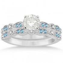 Marquise & Dot Blue Topaz & Diamond Bridal Set 14k White Gold 0.49ct