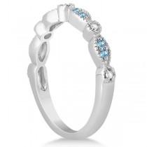 Marquise & Dot Blue Topaz & Diamond Bridal Set 14k White Gold 0.49ct