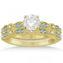 Marquise & Dot Blue Topaz & Diamond Bridal Set 14k Yellow Gold 0.49ct