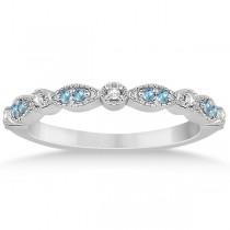 Marquise & Dot Blue Topaz & Diamond Bridal Set 18k White Gold 0.49ct