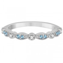 Marquise & Dot Blue Topaz & Diamond Wedding Band 18k White Gold .25ct