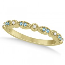 Marquise & Dot Blue Topaz & Diamond Wedding Band 18k Yellow Gold .25ct