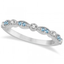 Marquise & Dot Blue Topaz & Diamond Wedding Band Platinum .25ct