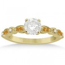 Marquise & Dot Citrine Diamond Engagement Ring 14k Yellow Gold 0.24ct