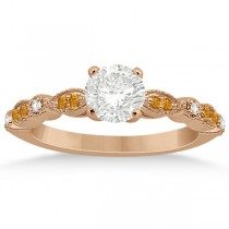 Marquise & Dot Citrine Diamond Engagement Ring 18k Rose Gold 0.24ct