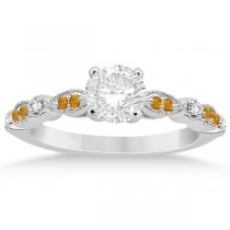 Marquise & Dot Citrine Diamond Engagement Ring 18k White Gold 0.24ct