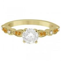 Marquise & Dot Citrine Diamond Engagement Ring 18k Yellow Gold 0.24ct